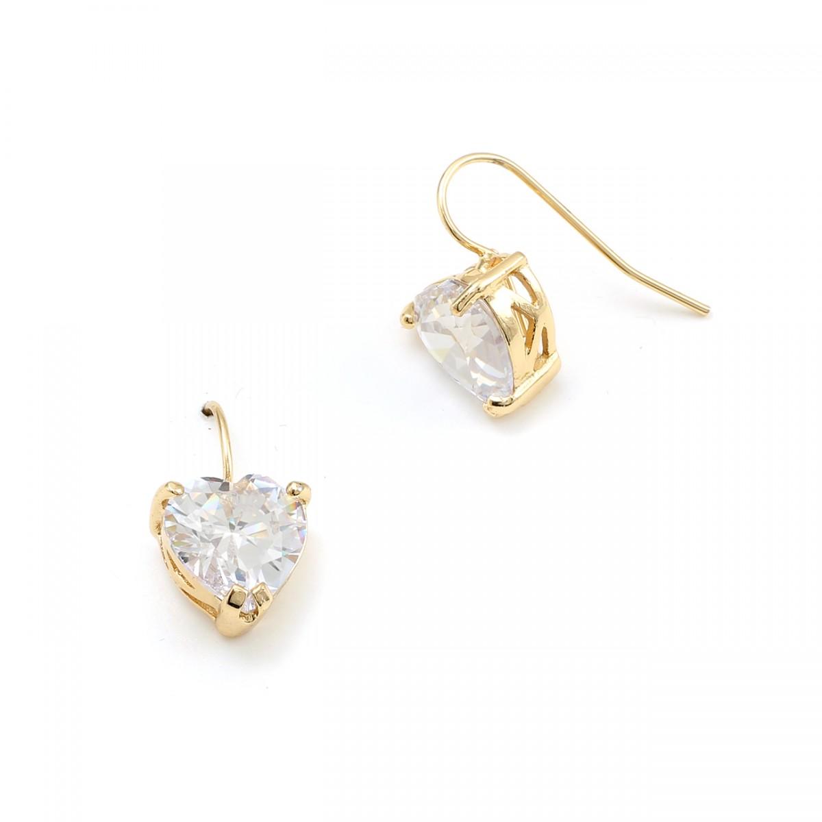 gold cubic zirconia shape wire hoop earrings