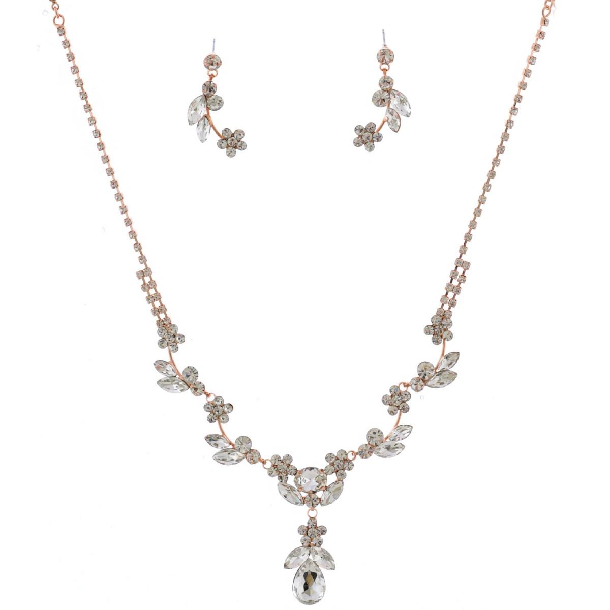 Fashion Jewelry Set Rose Gold Plating Flower Necklace Earrings Set Topwholesalejewel