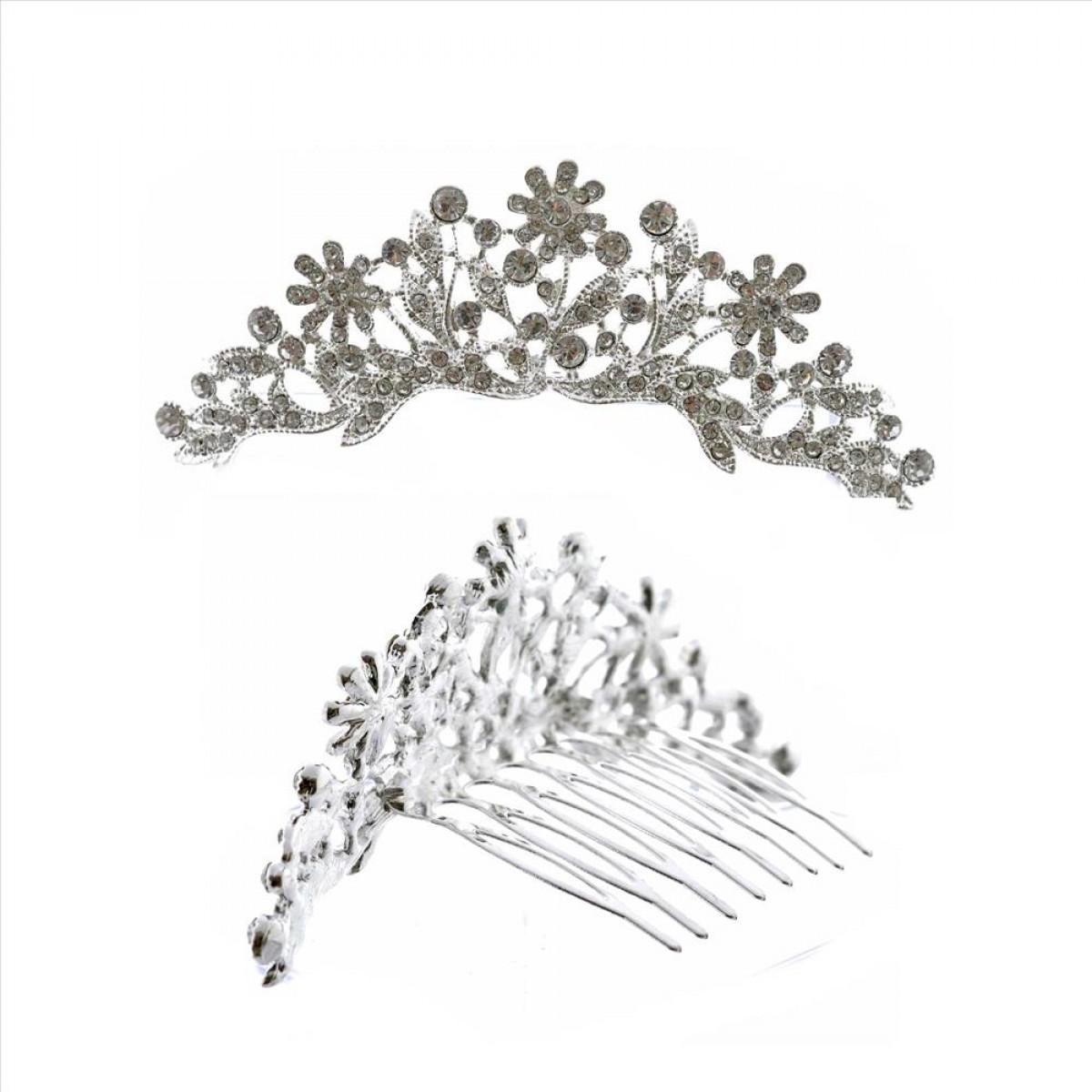 Mini Tiara Princess Rhinestone Crown Hair Comb Silver