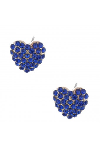 Fashion Earrings Silver Plating Sapphire Rhinestone Heart Shape Stud Earring