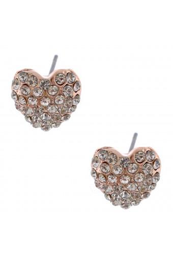 Rose Gold Plating Sapphire Rhinestone Heart Shape Stud Earring