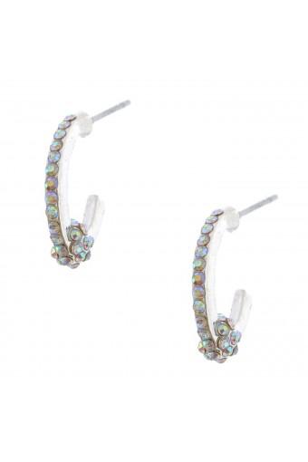 Fashion Earrings Silver Plating Aurora Borealist Rhinestone Semi Hoop Earring