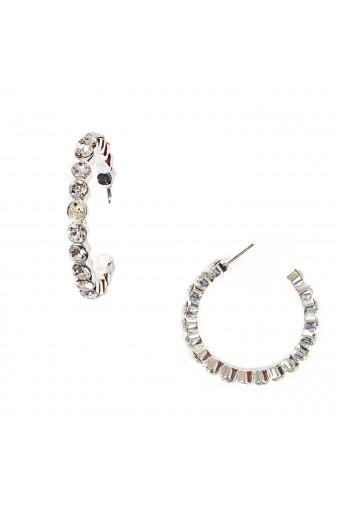 Silver Crystal Rhinestone Round Shape Hoop Earrings