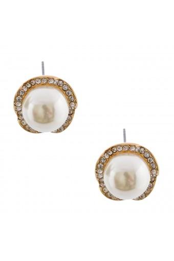 Gold Plating Faux Pearl Rhodelle Stud Earring