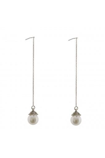 Wedding Earrings Rhodium Plating Faux Pearl Long Teardrop Earrings