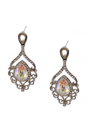 Wedding Earrings Silver Plating Aurora Borealis Chandlier Dangle Earrings