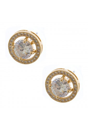 Bridal Earrings Gold Plating Round Rhinestone Post Earring