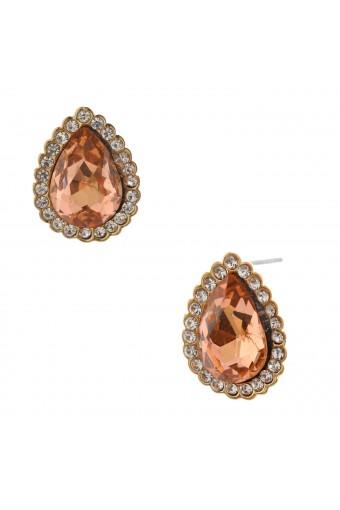 Fashion Jewelry Earrings Gold Plating Light Peach Rhinestone Stud Earrings