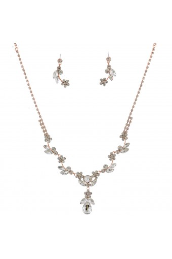 Fashion Jewelry Set Rose Gold Plating Flower Necklace Earrings Set
