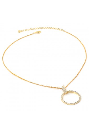 Gold Twist Wire Chain with Dangle Crystal Rhinestone Circle Necklace
