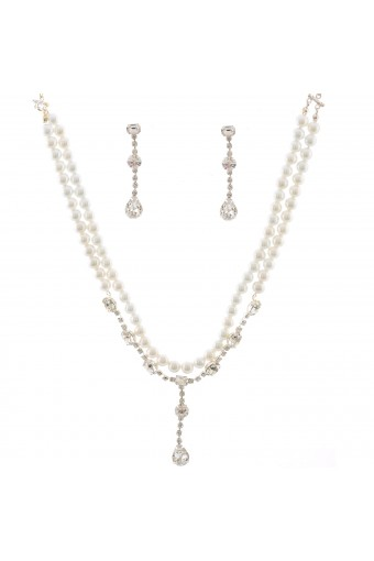 Wedding Jewelry Set Silver Plating Faux Pearl Accent Necklace Earrings Set