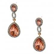Fashion Jewelry Gold Plating Light Peach Rhinestone Dangle Earrings