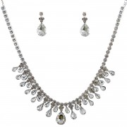 Fashion Jewelry Set Silver Plating Necklace Dangle Earrings Set