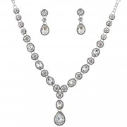 Fashion Jewelry Set Rhodium Plating Necklace Dangle Earrings Set