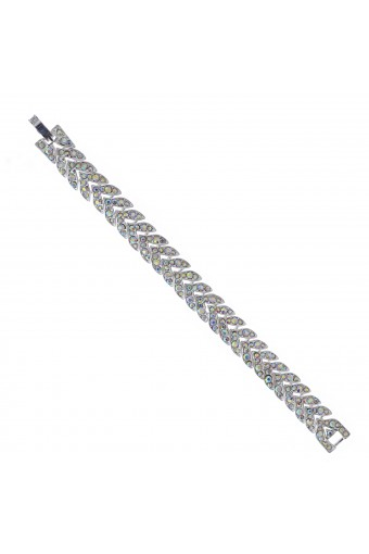 Topwholesalejewel Womens Link Bracelet Silver Aurora Borealis Chevron Bracelet
