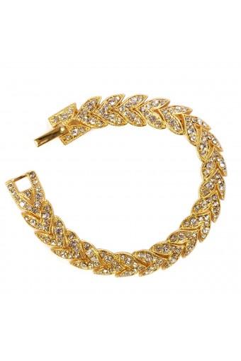 Gold Crystal Rhinestone Chevron Tennis Bracelet