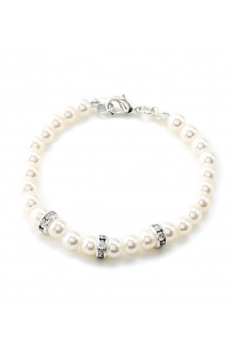White Pearl Link Bracelet with Silver Crystal Rhinestone Accent