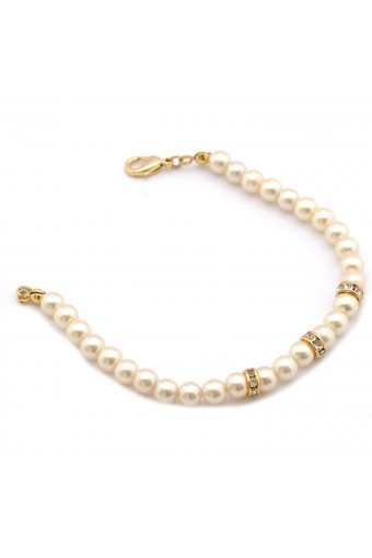 Fashion Jewelry Gold Plating Faux Pearl Link Bracelet