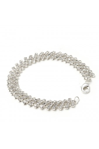 Silver Crystal 4 Strands Rhineston & Tennis Net Link Bracelet