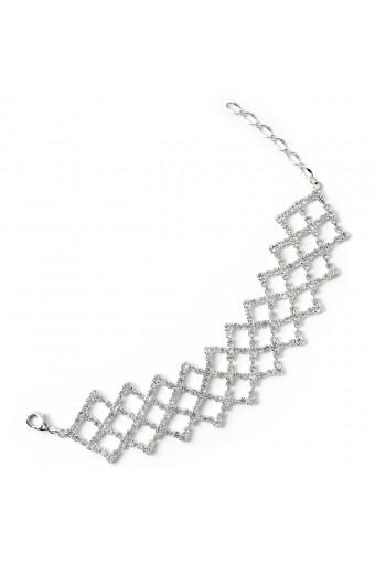Silver Crystal Rhinestone in Criss Cross Net Shape Bracelet