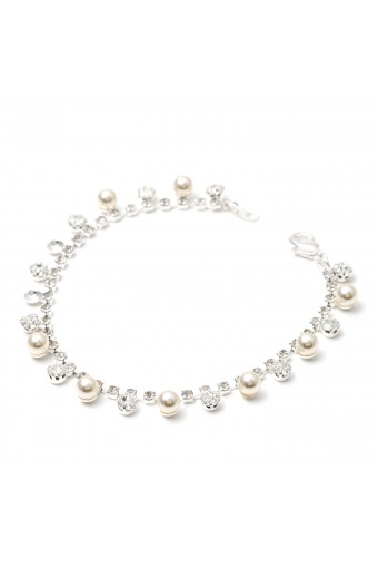 Silver Crystal Rhinestone Round Shape Stone & White Pearl Combination Link Bracelet