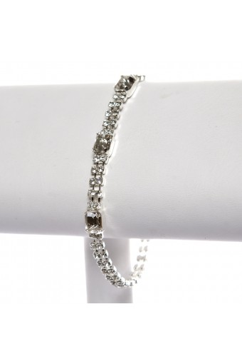 2 Line Strand Rows Silver Crystal Rhinestone with Baguette Cut Crystal Stone Tennis Bracelet