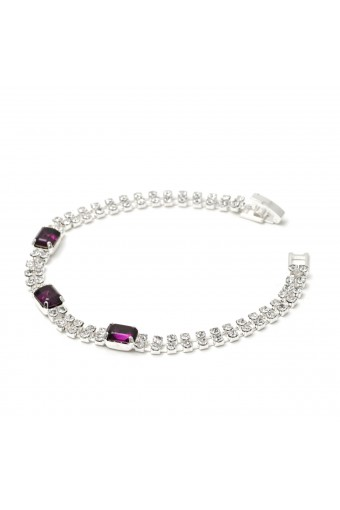 2 Strands Silver Crystal Rhinestone with Baguette Cut Amethyst Stone Tennis Bracelet