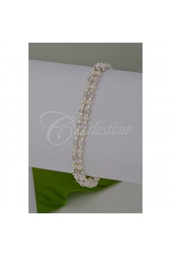 Silver White Pearl 2 Line Bracelet