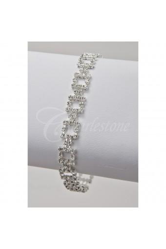 Silver Crystal Square Link Bracelet