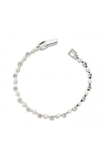 Silver White Pearl Tennis Bracelet
