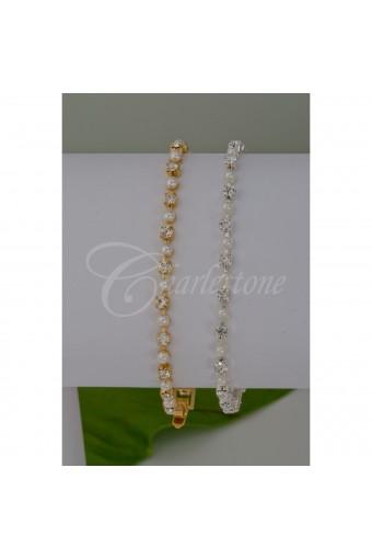 Gold Cream Pearl Tennis Bracelet