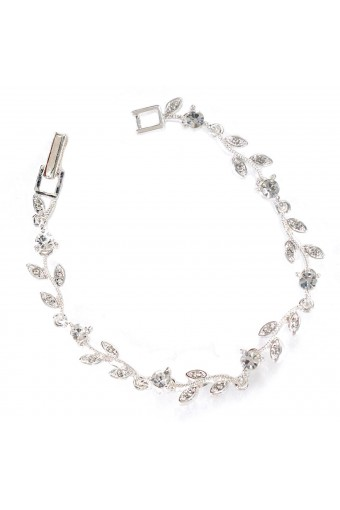 Silver Crystal Rhinestone Circle Round & Leaf Shape Combination Link Bracelet