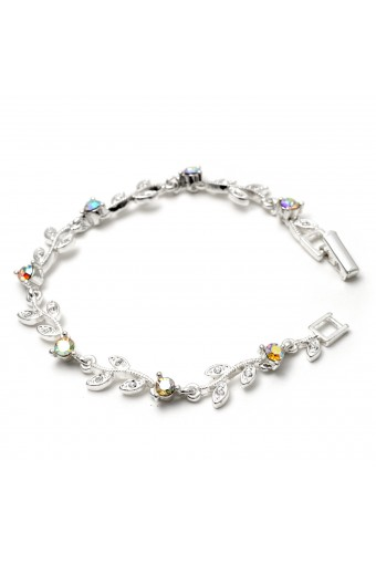Silver Aurora Borealis Rhinestone Round & Leaf Shape Link Bracelet