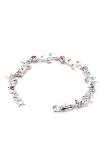 Silver Light Rose Rhinestone Round & Leaf Shape Combination Link Bracelet