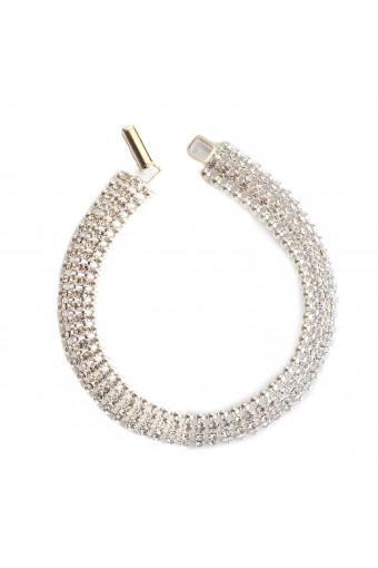 Silver Crystal 2 Ball & 3 Crystal Line Bracelet