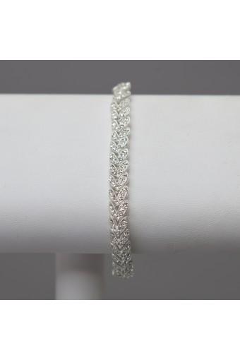 Silver Crystal Rhinestone Chevron Tennis Bracelet