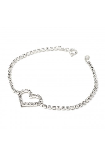 Silver Crystal Rhinestone Heart Shape with Small Stones Link Bracelet