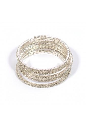 Silver Crystal 5 Line Spring Bracelet