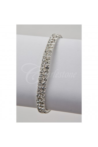 Silver Crystal 2 Row Stretch Bracelet