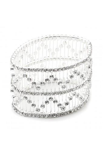 Silver Crystal Wide Stretch 3 Line Bracelet