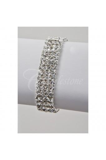 Silver Crystal 4 Row Stretch Bracelet