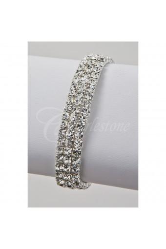 Silver Crystal 3 Row Stretch Bracelet