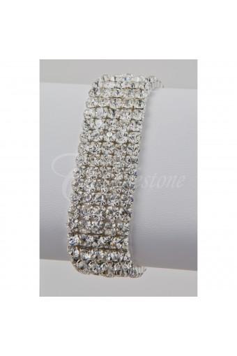 Silver Crystal 5 Row Stretch Bracelet