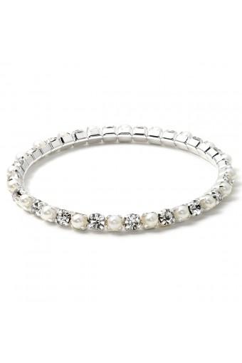 Silver White Pearl Stretch Bracelet