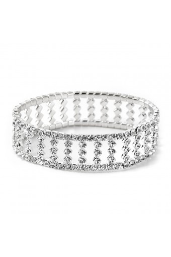 Silver Crystal Rondelle Marquis Stretch Bracelet