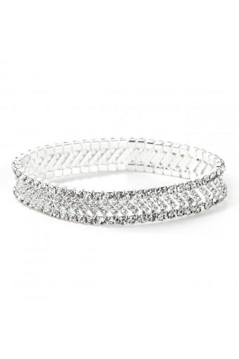 Silver Crystal Square Rondelle Bracelet