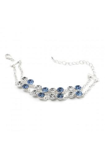 Silver Light Sapphire Circle Round Shape 16 Rhinestone 2 Line Row Strand Bracelet