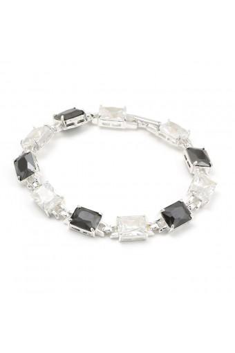 Silver Jet Cubic Zirconia Rectangle Baguette Shape Link Bracelet
