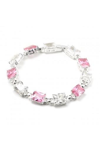 Silver Light Rose Cubic Zirconia Rectangle Baguette Shape Link Bracelet
