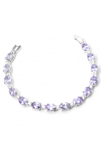 Silver Crystal Rhinestone with Alternating Oval Light Sapphire Cubic Zirconia Bracelet